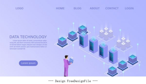 Datacenter server room cloud storage technology cartoon vector