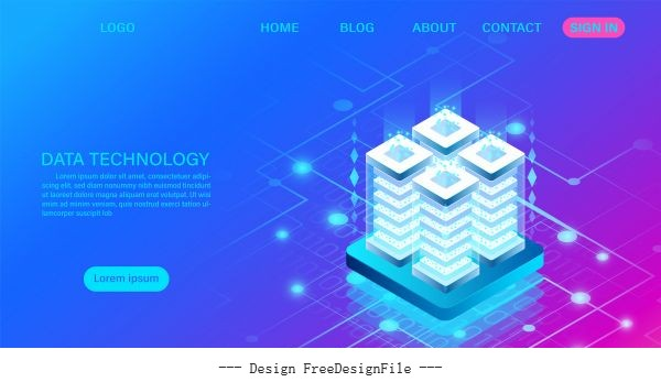 Concept digital information isometric cartoon vector