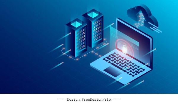 Concept digital information isometric dark neon design vector