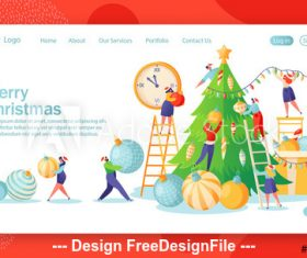 Decorative christmas tree flat character website layout vector