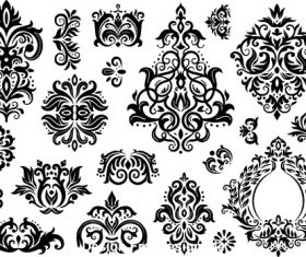 Decorative flower silhouette vector in different styles 01
