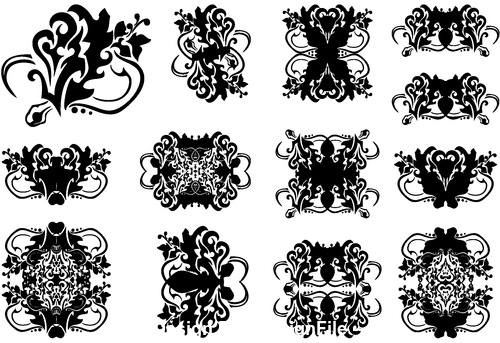 Decorative flower silhouette vector in different styles 02