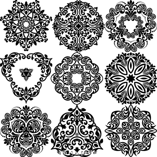 Decorative flower silhouette vector in different styles 03
