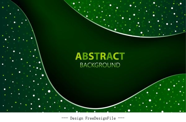 Decorative background abstract sparkling green spots curves decor set vector