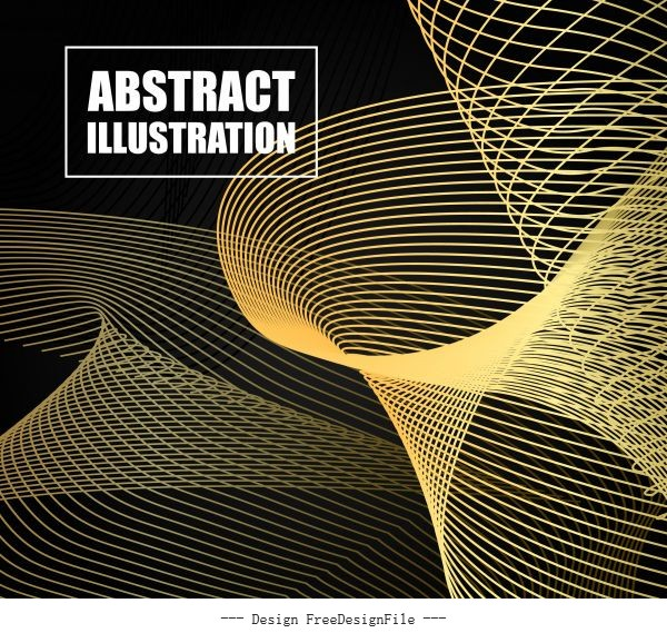 Decorative background dynamic 3d yellow lines vector