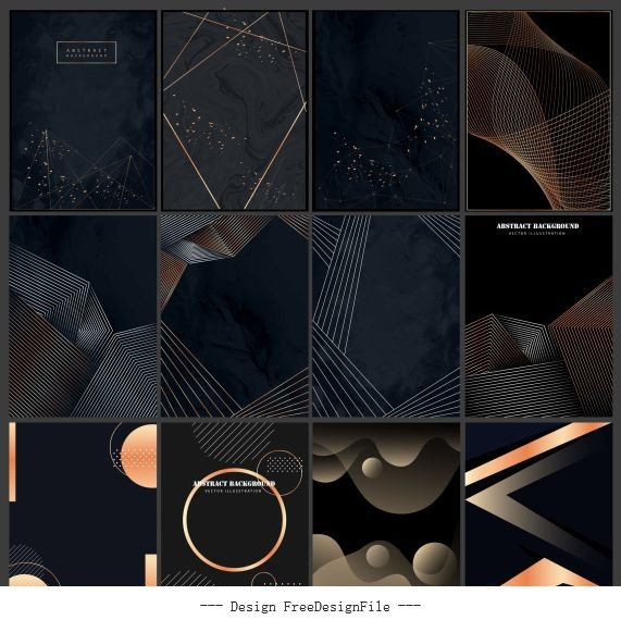 Decorative background templates modern dark dynamic abstract vector