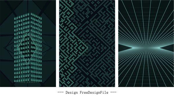 Decorative backgrounds modern dynamic 3d shapes light effect vector set