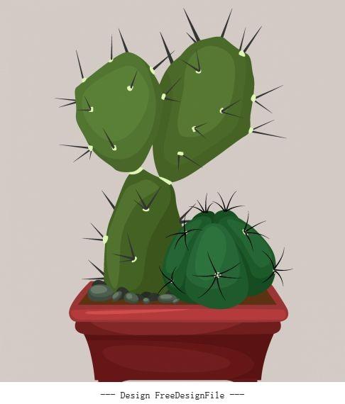 Decorative cacti plant pot icon colored classic vector