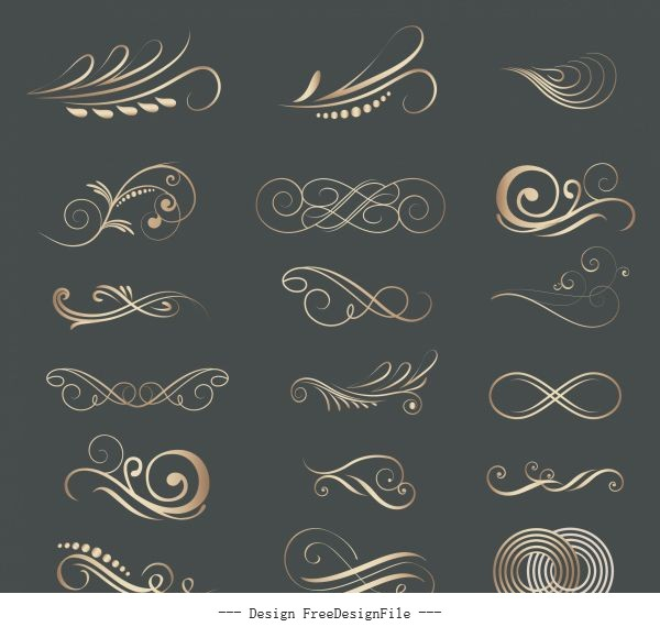Decorative elements swirled lines shapes design vector