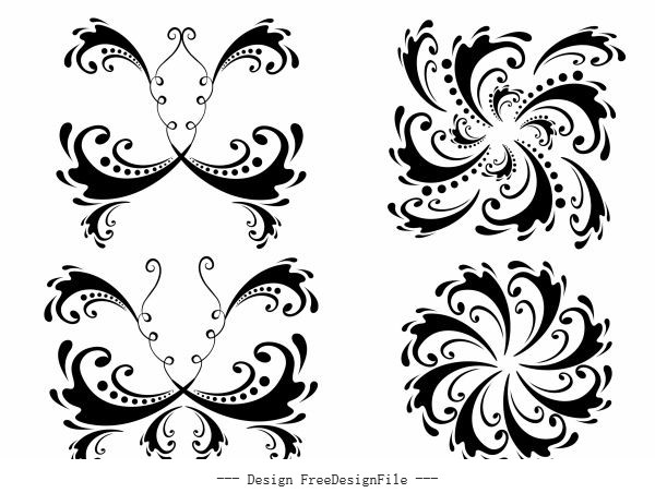 Decorative elements templates black white symmetric curves vector