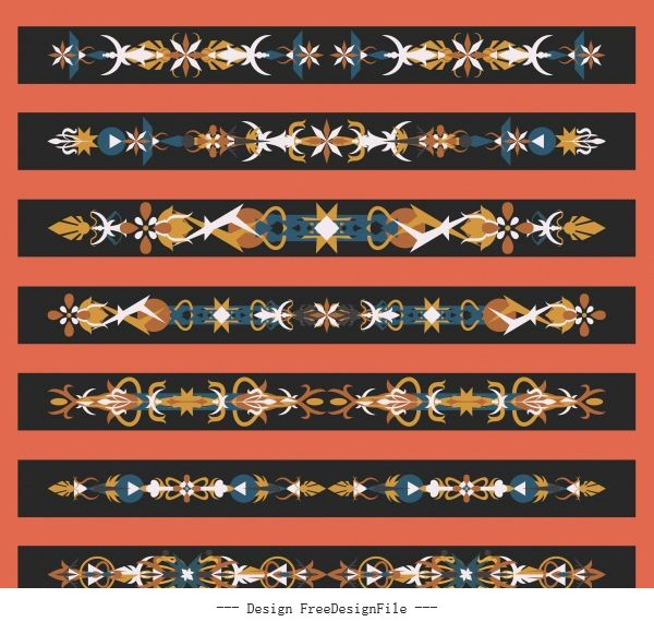 Templates tribal symmetric horizontal design vector