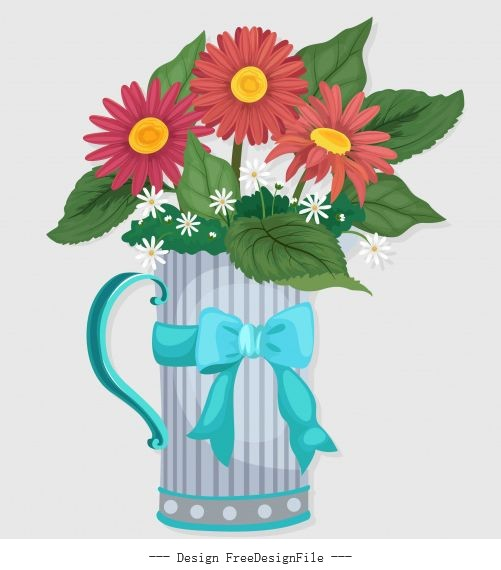 Decorative flowerpot glass colorful set vector