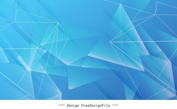 Decorative geometric background modern blue 3d crystals vector set