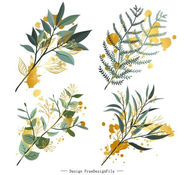 Decorative leaf branch icons colored grunge vector