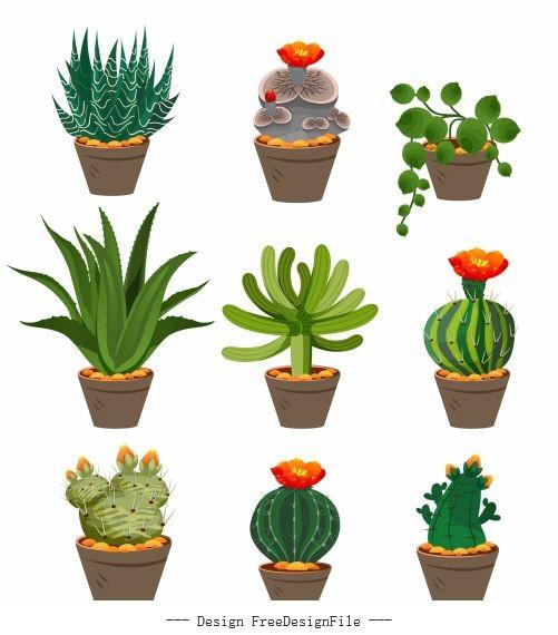 Decorative plant pot icons colorful classic vector