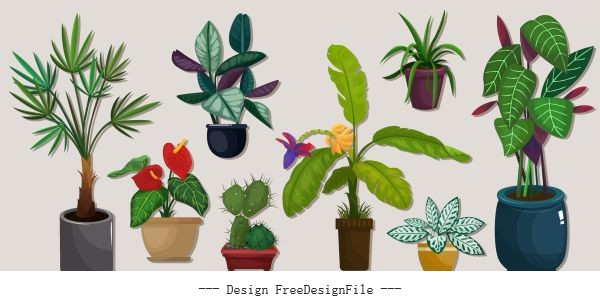 Decorative plants icons tree pots colorful vector material