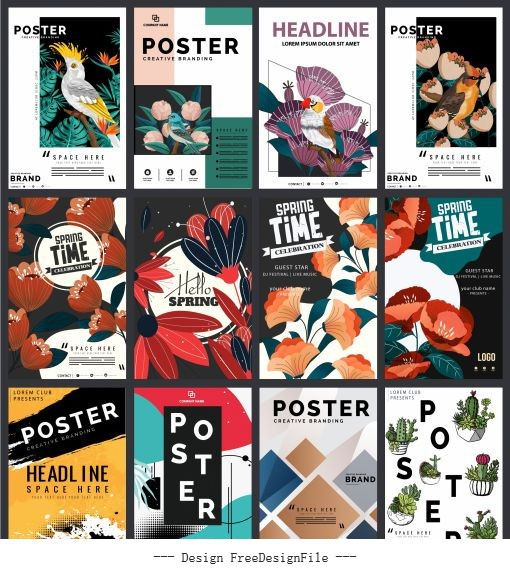 Decorative posters templates nature geometric abstract themes design vectors