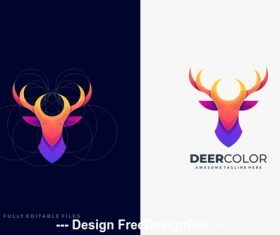 Deer abstract colorful with grid logo template vector