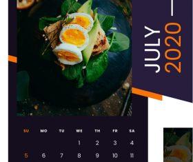 Delicious food 2020 calendar vector