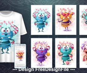 Design 3d t-shirts with mult funny characters vector