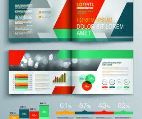 Design bi-fold color brochure flyer template vector