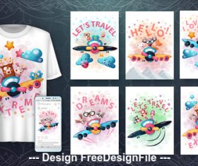 Design cartoon 3d t-shirts with mult funny characters vector