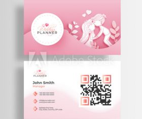 Design pink background wedding business cards vector