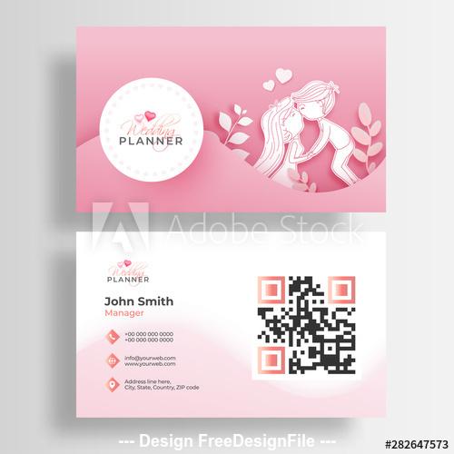 Design pink background wedding business cards vector