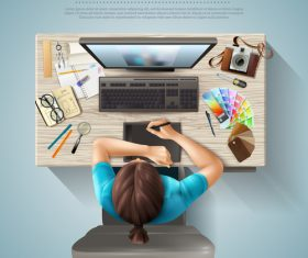 Designers workplace top view vector