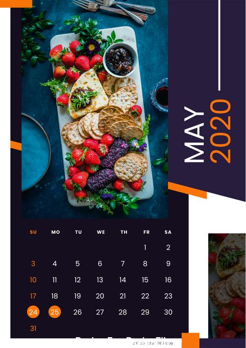 Dessert food 2020 calendar vector