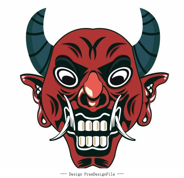 Devil mask frightening face vector