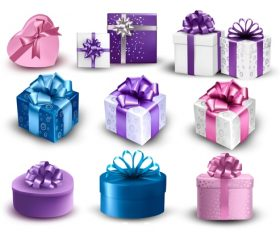 Different ribbon packing box gift vector