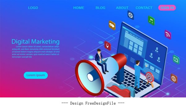 Digital marketing concept for banner and vector