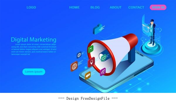 website business analysis content strategy and management digital media campaign flat illustration with vector