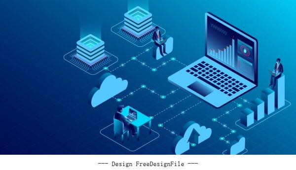 Computing new innovative ideas isometric illustration vector