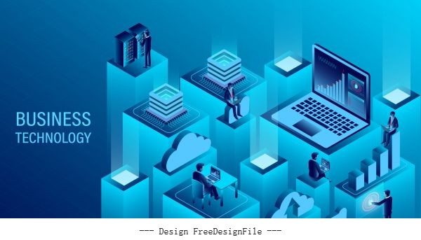 Digital technology concept cloud computing new innovative ideas isometric illustration vector