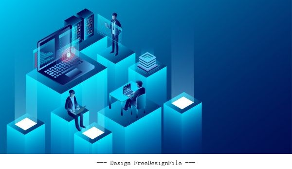 Digital technology concept new innovative ideas isometric illustration vector