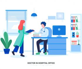 Doctor in hospital office vector