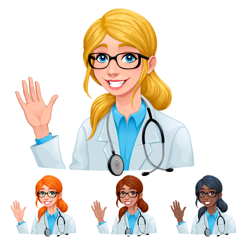 Doctor with different hair and skin colors vector