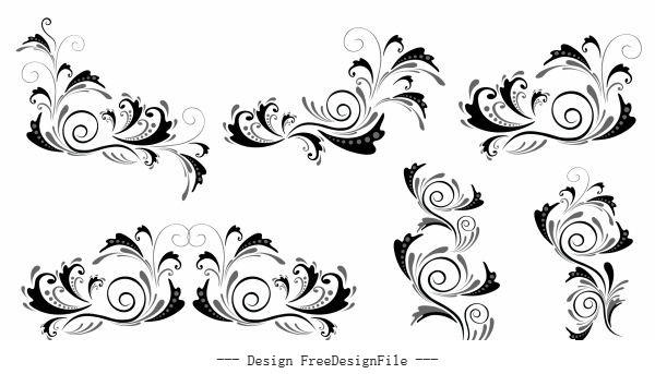 Document decorative elements black white curves vector