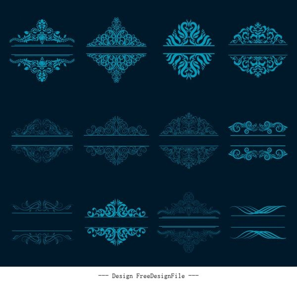 Document decorative elements blue classical symmetric seamless curves design vector