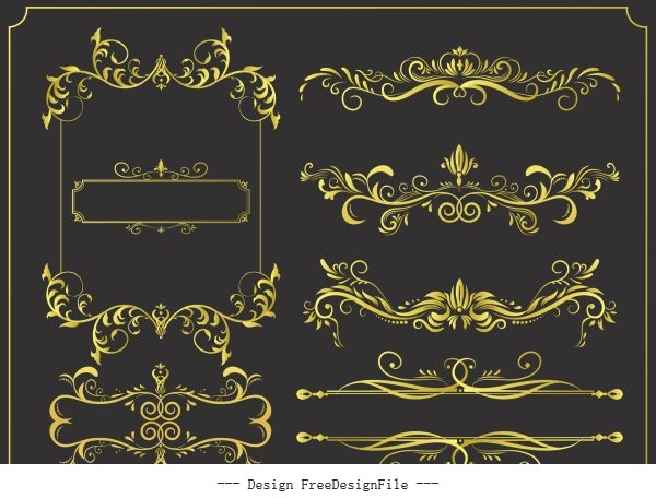 Document decorative elements golden symetric seamless curves vector material