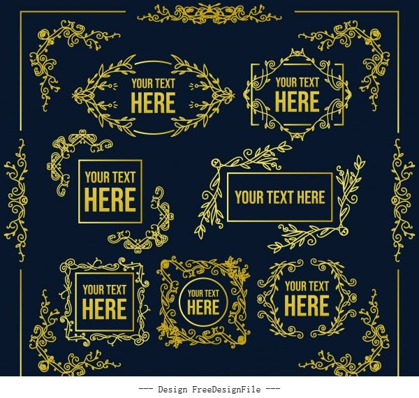 Document decorative elements retro symmetric vector