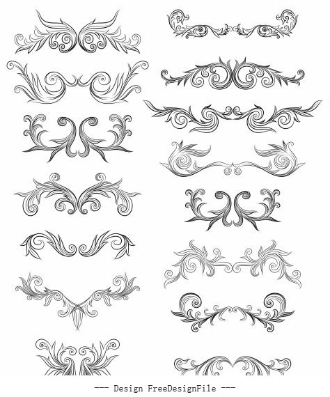 Document decorative elements elegant symmetric curves decor vector