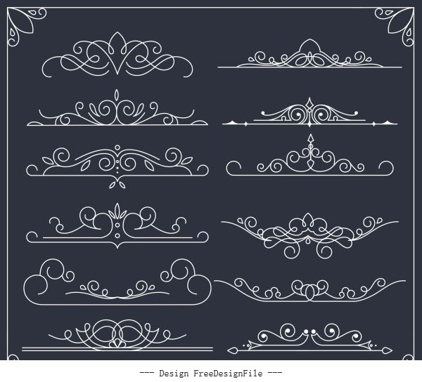 Document decorative elements european symmetric handdrawn curves vector design