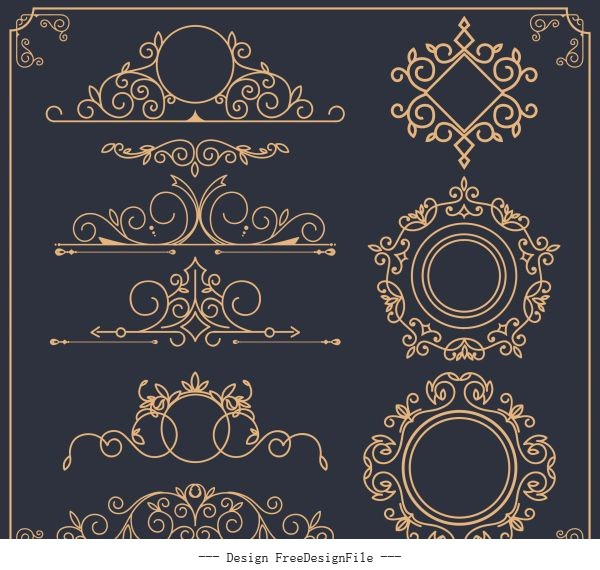Document decorative elements formal european symmetric shapes vector design