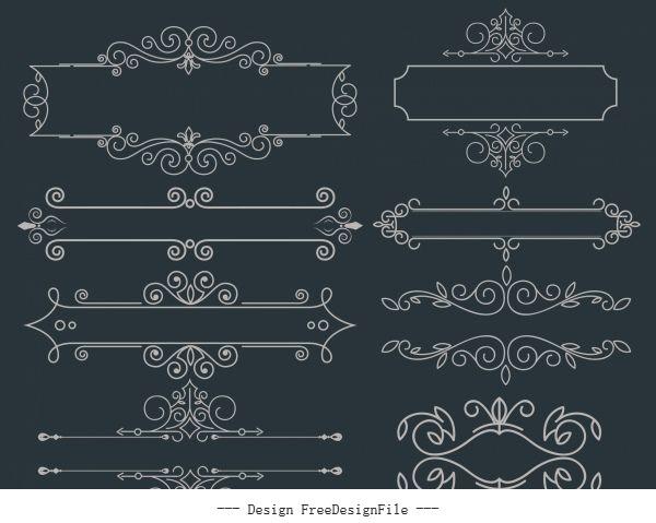 Document decorative elements symmetric european design vectors