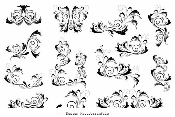 Document decorative templates elegant classic curves sketch set vector