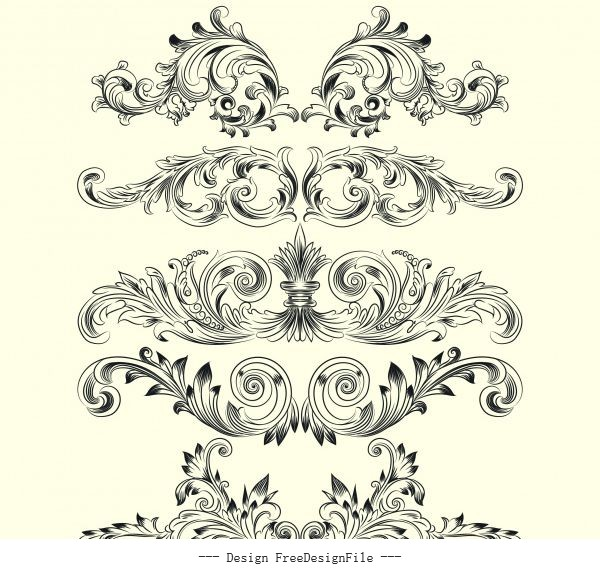 Templates classical european symmetric shapes shiny vector