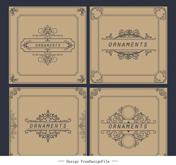 Document decorative templates elegant european retro symmetric vector design